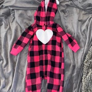 Pink checkered zip up with hoodie onesie